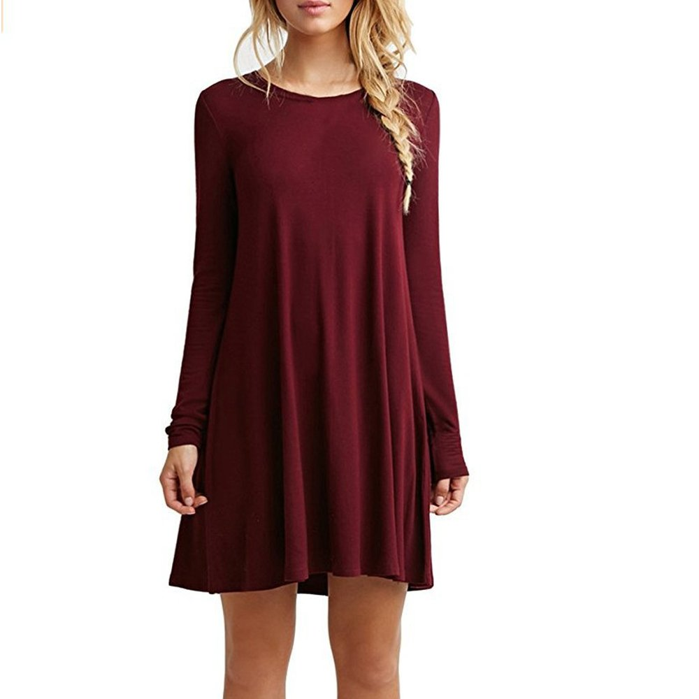 TALLA XL. ZNYSTAR Mujer de Camiseta Suelto Casual Cuello Redondo Mini Vestidos Vino Rojo Manga Larga XL