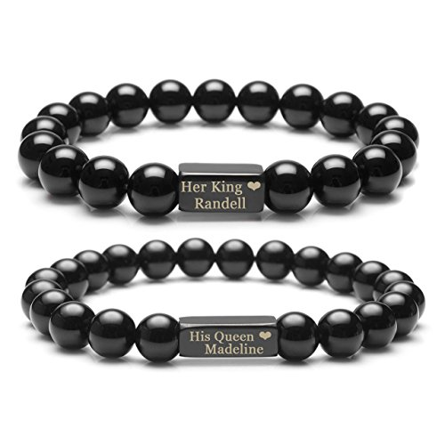 Top Plaza Customize Your Couple Lover His Queen Her King Bracelets - Chakra Reiki Healing Energy Crystals Black Agate Him And Her Elastic Bracelets For Personalized Name,Message - Kings Plaza