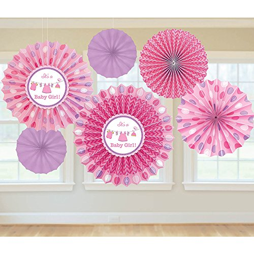 (Shower with Love Girl Paper Fan Decorations)