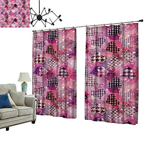 PRUNUS Window Curtain Drape with Hook Cute Heart Forms Featured Houndstooth Effects Feminine Teenage Girls Available in a Variety of Colors,W84.3 -