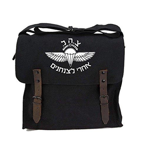 ISRAELI Paratrooper Army Canvas Medic Shoulder Bag Black & White ()