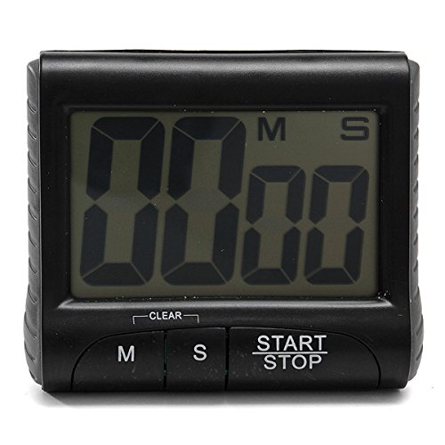 LCD Digital Kitchen Timer Count Down Up Clock Loud Alarm Black White.