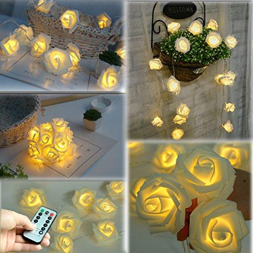 Homeleo 30 LED Rose String Lights, Rose Flower Lamp Fairy Lights w/ Remote for Christmas Wedding Room Anniversary Valentine's Day Decoration (Warm White)