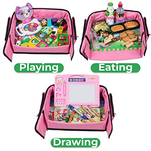 Pink Toddler Car Seat Travel Tray | +Bonus 2 in 1 Magnetic Doodle Board & Chalkboard | Kids Carseat Activity Tray, Lap & Play Tray for Car Seat and Stroller by Kidsmarter by KIDSMARTER (Image #5)