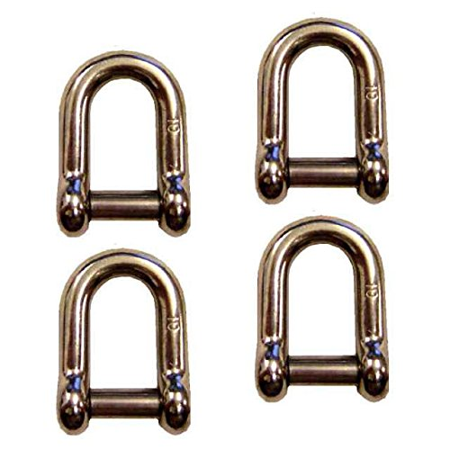 5/16'' Screw Pin D Shackle w/ Hex Sink Pin Stainless Steel – 4 Pack by US Cargo Control