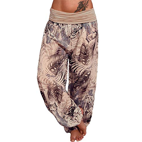 (EINCcm Women Loose Long Pants, Elastic Waist Boho Print Harem Pants Breathable Roomy Wide Leg Summer Pants(Khaki, S))