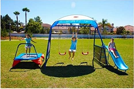 Amazon Com Kids Outdoor Playground Includes Trampoline Swings And