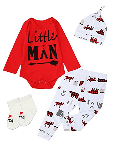 Giwawa 4PCS Outfit Set Baby Boy Little Man Romper (Red, 0-6 Months)