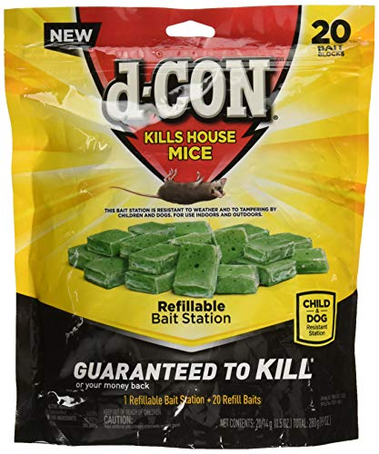 (d-CON Refillable Corner Fit Mouse Poison Bait Station, 1 Trap + 20 Bait Refills)