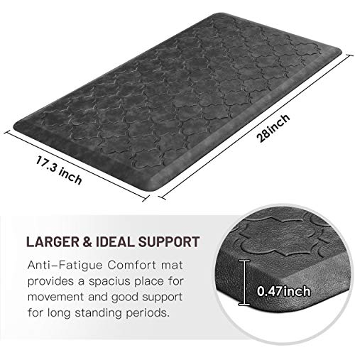 WiseLife Kitchen Mat Cushioned Anti Fatigue Floor Mat,17.3″x28″, Thick Non Slip Waterproof Kitchen Rugs and Mats,Heavy Duty Foam Standing Mat for Kitchen,Floor,Home,Office,Desk,Sink,Laundry, Grey