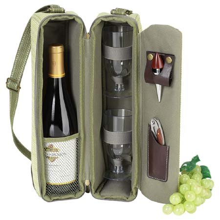 Picnic at Ascot - Deluxe Insulated Wine Tote with 2 Wine Glasses, Napkins and Corkscrew - Olive Green (Ascot At Bag Picnic)