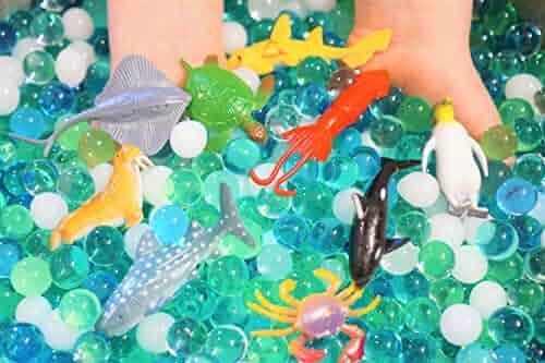 SENSORY4U Dew Drops Water Beads Ocean Explorers Tactile Sensory Kit - 24 Sea Animal Creatures Included - Great Fine Motor Skills Toy for Kids
