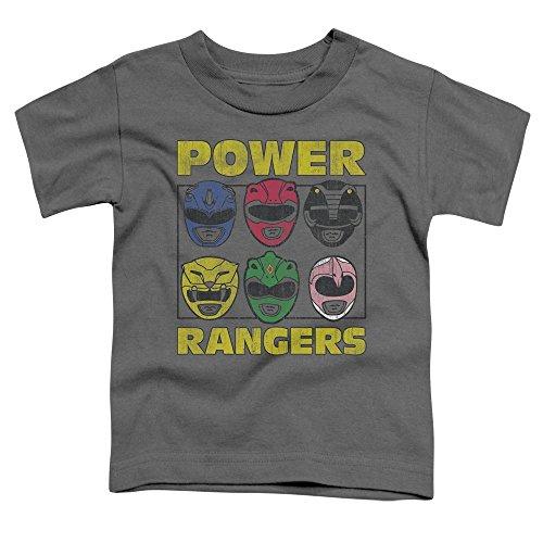 (Power Rangers - Toddlers Ranger Heads T-Shirt, 2T, Charcoal)