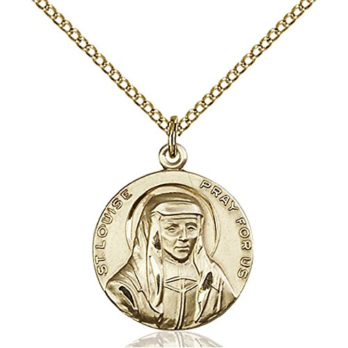 Gold Filled St. Louise Pendant 3/4 x 5/8 inches with Gold Filled Lite Curb Chain by Bonyak Jewelry Saint Medal Collection
