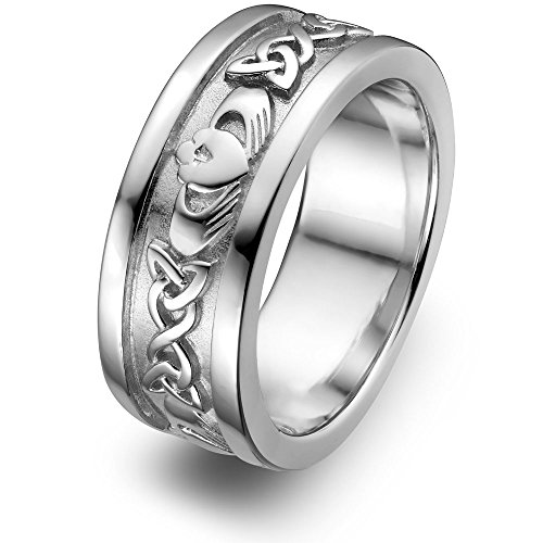 Sterling Silver Men's Claddagh Wedding Ring UMS-6345 Size: 13