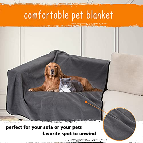 JuWow Waterproof Pet Blankets, Liquid Pee Urine Leak Proof Dog Blanket for Bed, Chair, Couch, Soft Plush Reversible Furniture Protector Cover for Small Medium Large Dogs Cats, Grey (35inch30inch)