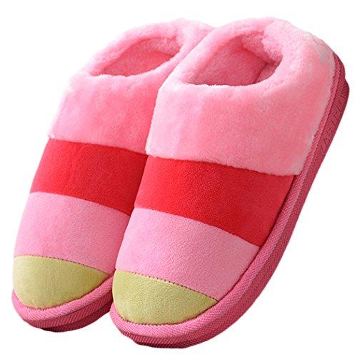 House Hard Women's Outdoor Anti Clog Cozy Slip Slippers Slippers Comfort Sole Pink Fluffy Indoor zwTqAfnw