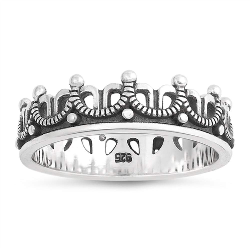 CloseoutWarehouse Oxidized Sterling Silver Crown Ring