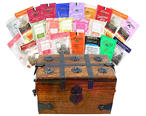 Learn More About Tea Lover Wood Tea Treasure Chest Variety Gift Sampler Box Individual Bags By WellP...