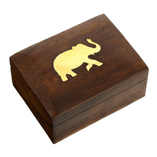[Jewelry Box in Wood Elephant Charm Gift for Women, 4 X 3 X 2 Inches] (Brass Elephant Charm)