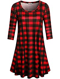 Red And Black Plaid Dress For Women,Woman'S O Neck Classic Basic Trapeze Long Tunic Shirts Feminine Comfy Soft Relaxed Fit Knitted Midi Dresses For Spring,X-Large