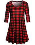 Cestyle Red Black Plaid Dress Women,Woman's O Neck Classic Basic Trapeze Long Tunic Shirts Feminine Comfy Soft Relaxed Fit Knitted Midi Dresses Spring,X-Large