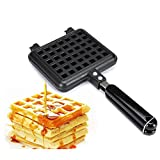 waffle iron cast iron belgian - Happy Hours Classic Non-stick Cast Aluminum Waffle Maker Checkered Cakes With Handle Baker Plates Waffles Tray Mold Fits for Stovetop/Campfire Pan