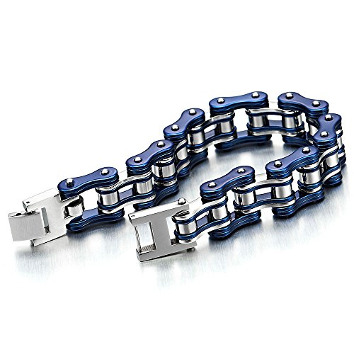 Stainless Steel Bike Chain Bracelet (Masculine Mens Motorcycle Bike Chain Bracelet of Stainless Steel Silver Blue Two-tone High Polished)
