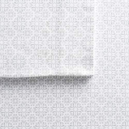 Cuddl Duds Queen Size Flannel Sheet Set (Tile Bloom)