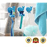 MiniOwls Bath Combo - Set of 4 Toothbrush Holders & 2 Hooks with Blue Whale Suction Cups. Best Bathroom Organizer -3% is Donated to Autism Foundation…