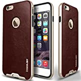 iPhone 6S Plus Case, Caseology [Envoy Series] Premium Leather Bumper Cover [Cherry Oak] [Leather Bound] for Apple iPhone 6S Plus (2015) & iPhone 6 Plus (2014) - Cherry Oak