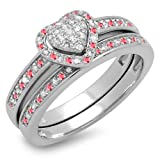 DazzlingRock Collection Sterling Silver Round Ruby & White Diamond Heart Shaped Bridal Engagement Ring Set (Size 6)