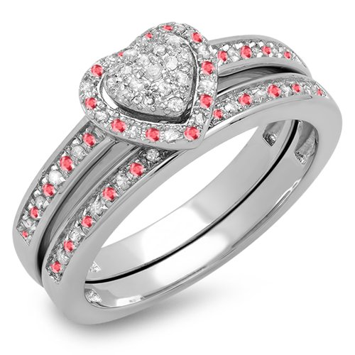 Dazzlingrock Collection Sterling Silver Round Ruby & White Diamond Heart Shaped Bridal Engagement Ring Set, Size 7