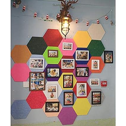 promemorie da parete quadrata Set di mattonelle in feltro di sughero appunti e decorazioni da parete Puzzle schizzi a forma di bacheca esagonale con autoadesivo per conservare foto obiettivi