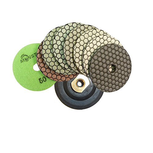 (Monster B000RDZVJU 4-Inch Monster Dry Diamond Polishing Pads with Free Back Holder, Set of 8)
