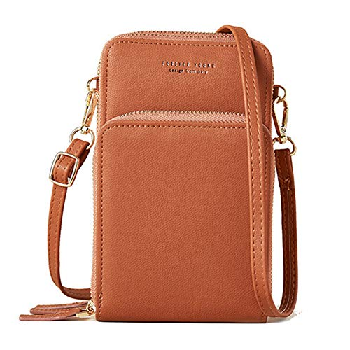 KUKOO Small Crossbody Phone Bags for women, Multi Pocket Shoulder Cell Phone Purse Wallet for Travel (Brown)