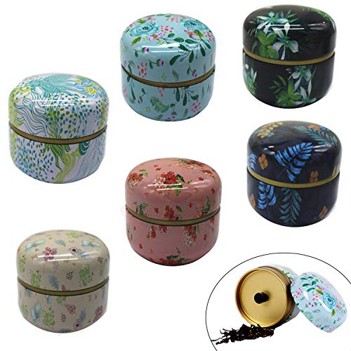 HAN SHENG 6 Pcs Mini Tea Storage Containers Tea Tins Coffee Tins Food Storage Container for Tea Coffee Herb Candy Chocolate Sugar Spices (Tea Coffee And Tins)