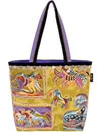 Laurel Burch Canvas Square Tote with Zipper Top, Mythical Horses