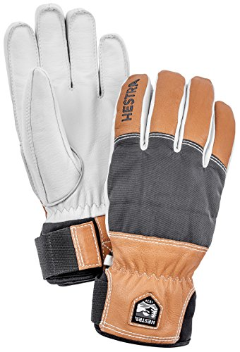 (Hestra Ski Gloves: Mens and Womens Army Leather Abisko Wool Lined Winter Cold Weather Gloves, Grey,)