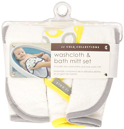 JJ Cole Washcloth and Bath Mitt Set, Yellow Ducks, 3 Count
