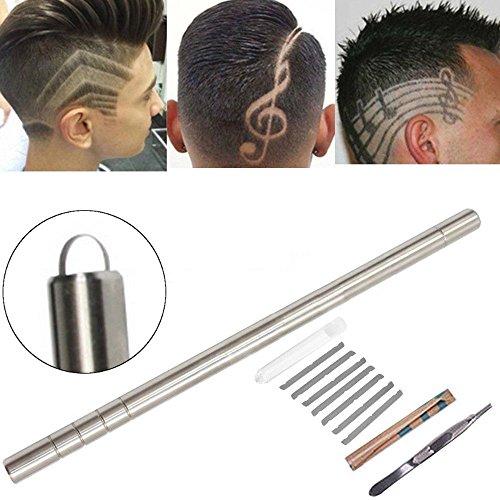 okokmall US -- 1Set Magic Plata Peluquería Styling Eyebrow barbas grabado Pluma de afeitar de barbero