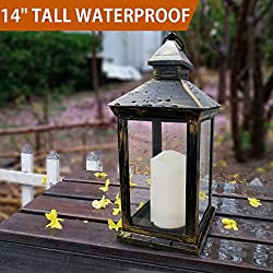 "Bright Zeal BZY 14"" Tall Vintage Decorative Lantern with LED Pillar Candle (Bronze, Batteries Included) - Outdoor Lanterns Decorative Hanging - Battery Lantern Candle Holder - Vintage Candle Lantern"