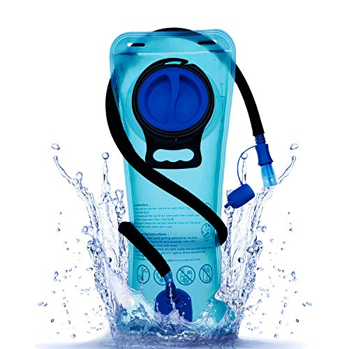 Mothybot 2L Hydration Bladder, 2 Liter 70oz Water Bladder Upgraded Leak Proof Water Reservoir Hydration Pack Replacement with Quick Release Insulated Tube and Auto Shut-Off Valve for Hiking Cycling (2l Bladder)