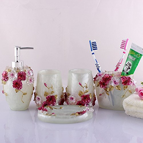 HOALLME Country Floral Design Red Flowers Resin Toilet Bathroom Accessories Set Lotion Dispenser Tumbler Toothbrush Holder Soap Dish Home Decorations Wedding Gift 5pcs/set