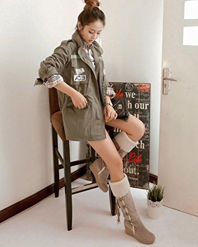 Beige Femme Chaussures De Coton Compensés Bottines Rembourré Chaud Bottes Neige Minetom Hiver Talons Peluche 4wqwdO