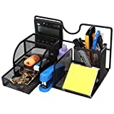 CRUODA Mesh Desk Organizer Office Supplies Caddy: Drawer, Pen Holder, File Holder, Black