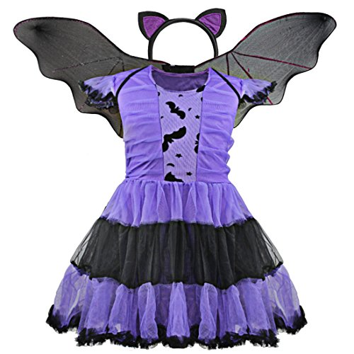 Bat Fairy Costume (CHICTRY Child's Little Girl Bat Tutu Dresses Costume Halloween Cosplay Party Fairy Bat-Wings Fancy Dress up Purple)
