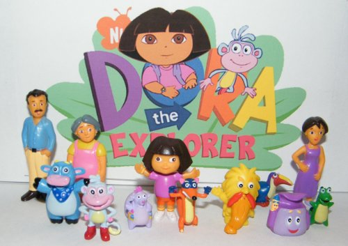 Nickelodeon Dora The Explorer Deluxe Figure Set Toy Playset of 12 with Dora, Boots, Tico, Troll, Parents, Grandma and More!