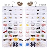AARainbow Hanging Plastic Jewelry Organizer Bag 80 Pockets Dual-Sided Non-Woven Transparent Foldable Organizers and Storage for Closet Nightstand Drawer Women Girl (White)