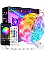40FT Led Strip Lights, ViLSOM Smart APP and Remote Control Music Sync Led Lights Strip for Bedroom, Ceiling, Party, Home Decoration with 5050LED 16 Million Colors RGB Light Strip Bias Lighting